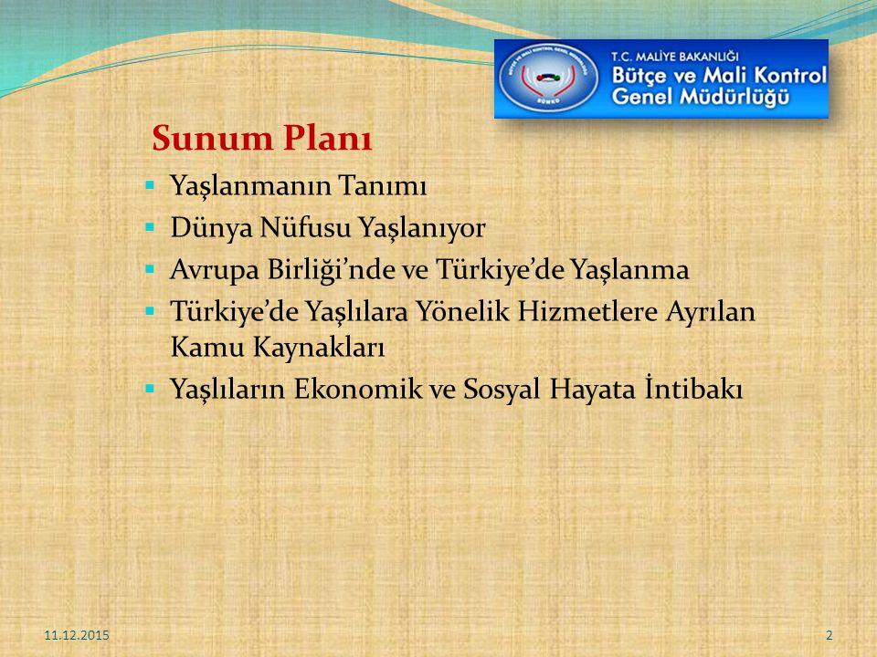 Sunum Planı  Yaşlanmanın Tanımı  Dünya Nüfusu Yaşlanıyor  Avrupa Birliği'nde ve Türkiye'de Yaşlanma  Türkiye'de Yaşlılara Yönelik Hizmetlere Ayrılan Kamu Kaynakları  Yaşlıların Ekonomik ve Sosyal Hayata İntibakı 11.12.20152
