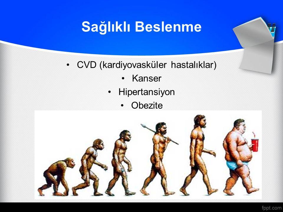 Sağlıklı Beslenme CVD (kardiyovasküler hastalıklar) Kanser Hipertansiyon Obezite