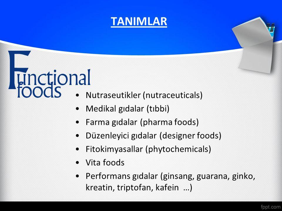 TANIMLAR Nutraseutikler (nutraceuticals) Medikal gıdalar (tıbbi) Farma gıdalar (pharma foods) Düzenleyici gıdalar (designer foods) Fitokimyasallar (phytochemicals) Vita foods Performans gıdalar (ginsang, guarana, ginko, kreatin, triptofan, kafein …)