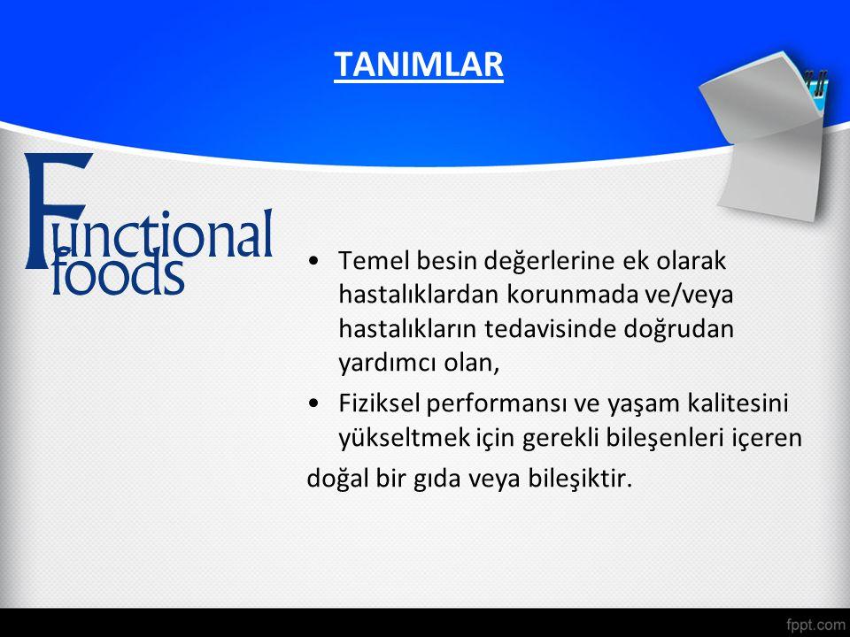 TANIMLAR Temel besin değerlerine ek olarak hastalıklardan korunmada ve/veya hastalıkların tedavisinde doğrudan yardımcı olan, Fiziksel performansı ve yaşam kalitesini yükseltmek için gerekli bileşenleri içeren doğal bir gıda veya bileşiktir.