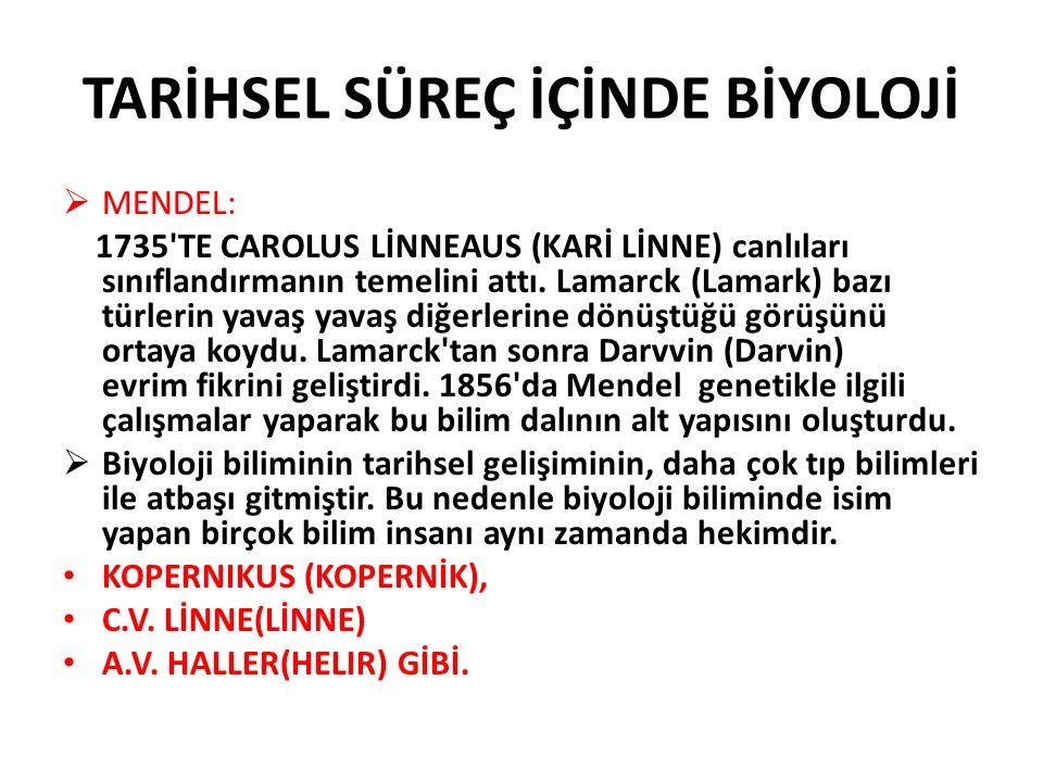  MENDEL: 1735'TE CAROLUS LİNNEAUS (KARİ LİNNE) canlıları sınıflandırmanın temelini attı. Lamarck (Lamark) bazı türlerin yavaş yavaş diğerlerine dönüş
