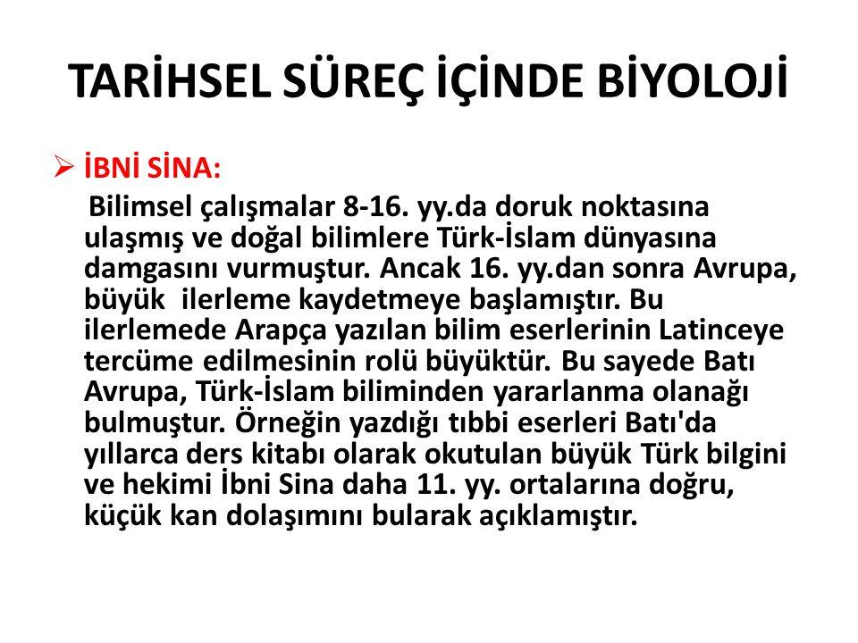  İBNİ SİNA: Bilimsel çalışmalar 8-16. yy.da doruk noktasına ulaşmış ve doğal bilimlere Türk-İslam dünyasına damgasını vurmuştur. Ancak 16. yy.dan son
