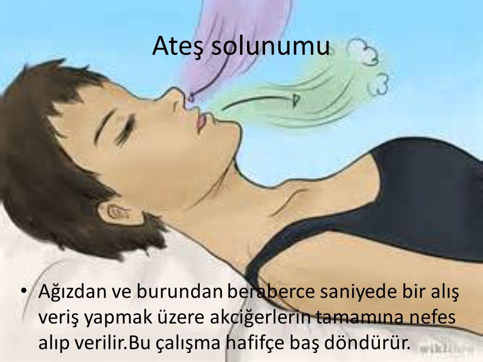 Ateş solunumu Ağızdan ve burundan beraberce saniyede bir alış veriş yapmak üzere akciğerlerin tamamına nefes alıp verilir.Bu çalışma hafifçe baş döndürür.