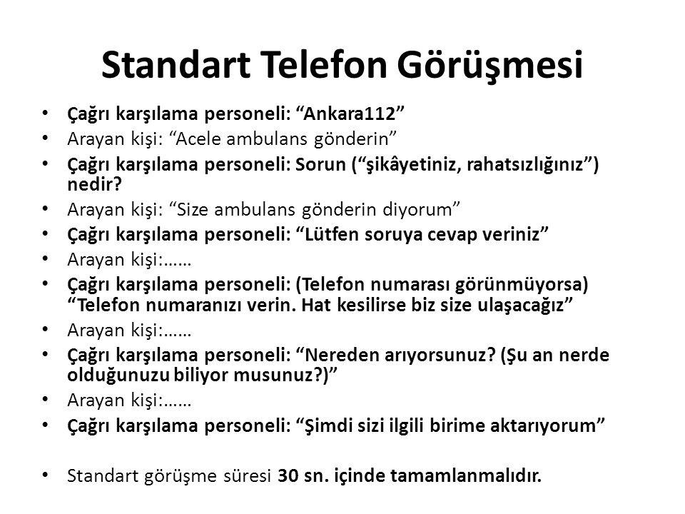 Standart Telefon Görüşmesi Çağrı karşılama personeli: Ankara112 Arayan kişi: Acele ambulans gönderin Çağrı karşılama personeli: Sorun ( şikâyetiniz, rahatsızlığınız ) nedir.