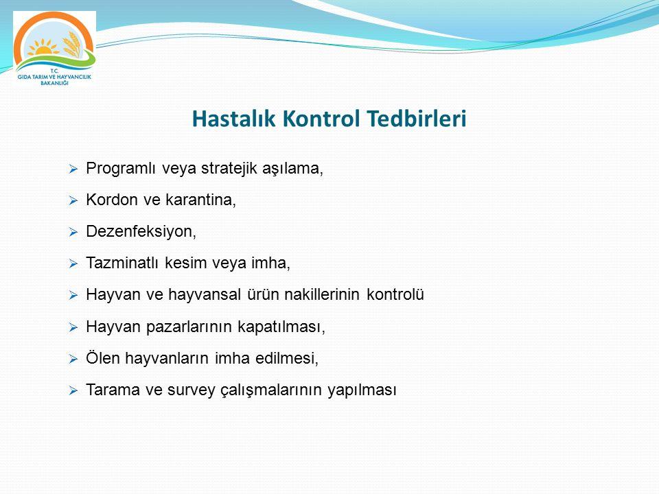 Hastalık Kontrol Tedbirleri  Programlı veya stratejik aşılama,  Kordon ve karantina,  Dezenfeksiyon,  Tazminatlı kesim veya imha,  Hayvan ve hayv