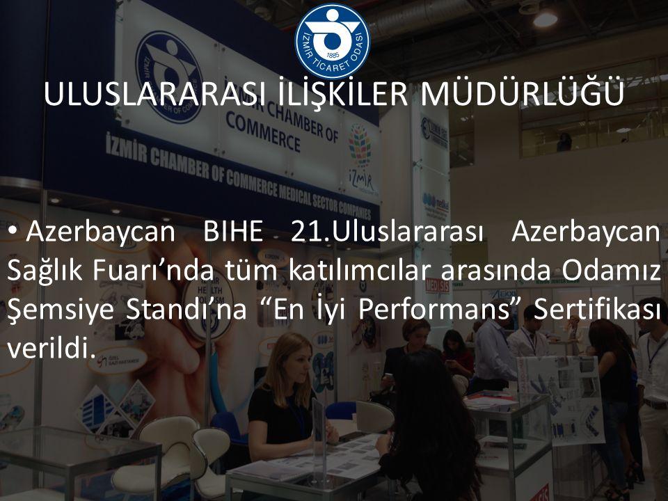 Azerbaycan BIHE 21.Uluslararası Azerbaycan Sağlık Fuarı'nda tüm katılımcılar arasında Odamız Şemsiye Standı'na En İyi Performans Sertifikası verildi.