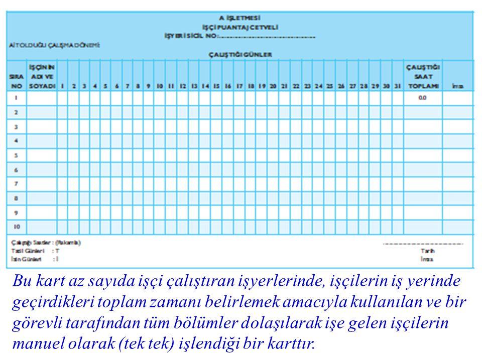 Bu kart az sayıda işçi çalıştıran işyerlerinde, işçilerin iş yerinde geçirdikleri toplam zamanı belirlemek amacıyla kullanılan ve bir görevli tarafınd