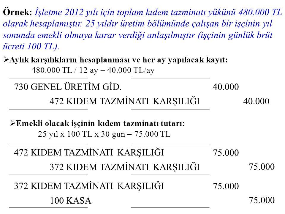 Örnek: İşletme 2012 yılı için toplam kıdem tazminatı yükünü 480.000 TL olarak hesaplamıştır. 25 yıldır üretim bölümünde çalışan bir işçinin yıl sonund