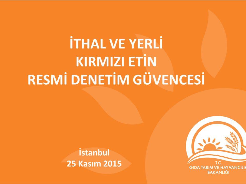 İTHAL VE YERLİ KIRMIZI ETİN RESMİ DENETİM GÜVENCESİ İstanbul 25 Kasım 2015