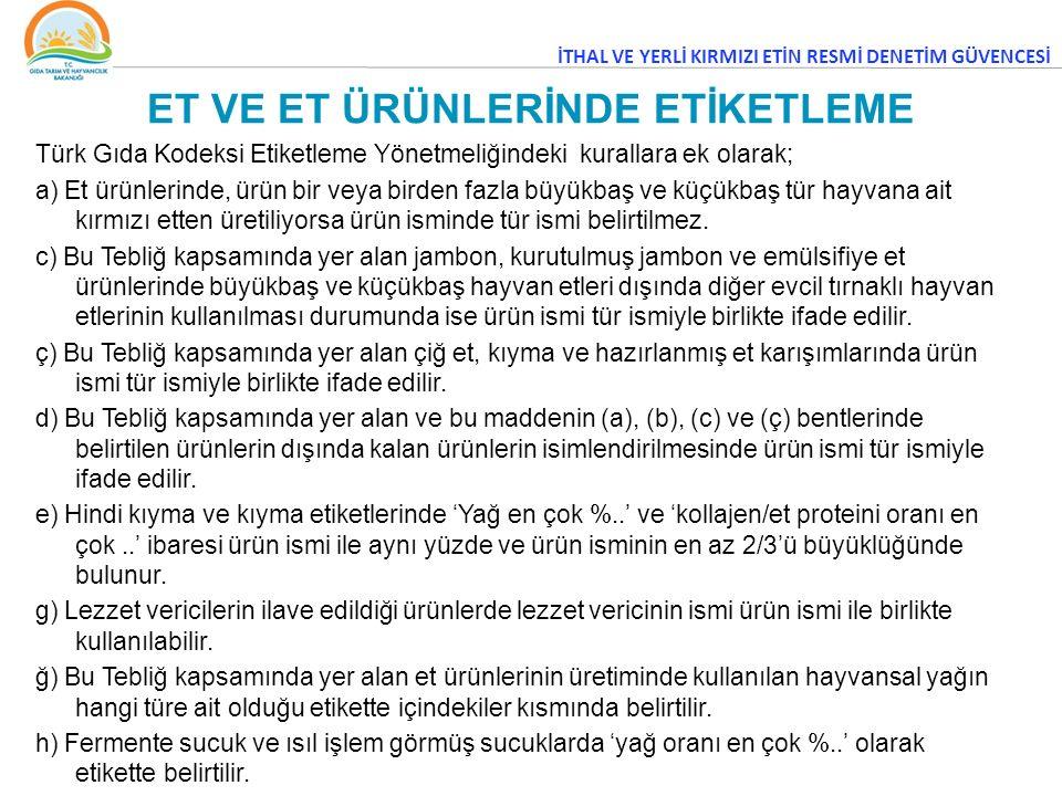 Türk Gıda Kodeksi Etiketleme Yönetmeliğindeki kurallara ek olarak; a) Et ürünlerinde, ürün bir veya birden fazla büyükbaş ve küçükbaş tür hayvana ait kırmızı etten üretiliyorsa ürün isminde tür ismi belirtilmez.