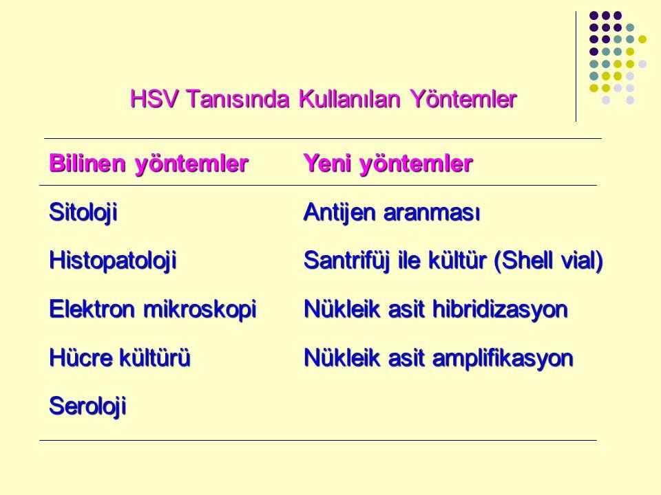 HSV Tanısında Kullanılan Yöntemler Bilinen yöntemlerYeni yöntemler Sitoloji Antijen aranması Histopatoloji Santrifüj ile kültür (Shell vial) Elektron