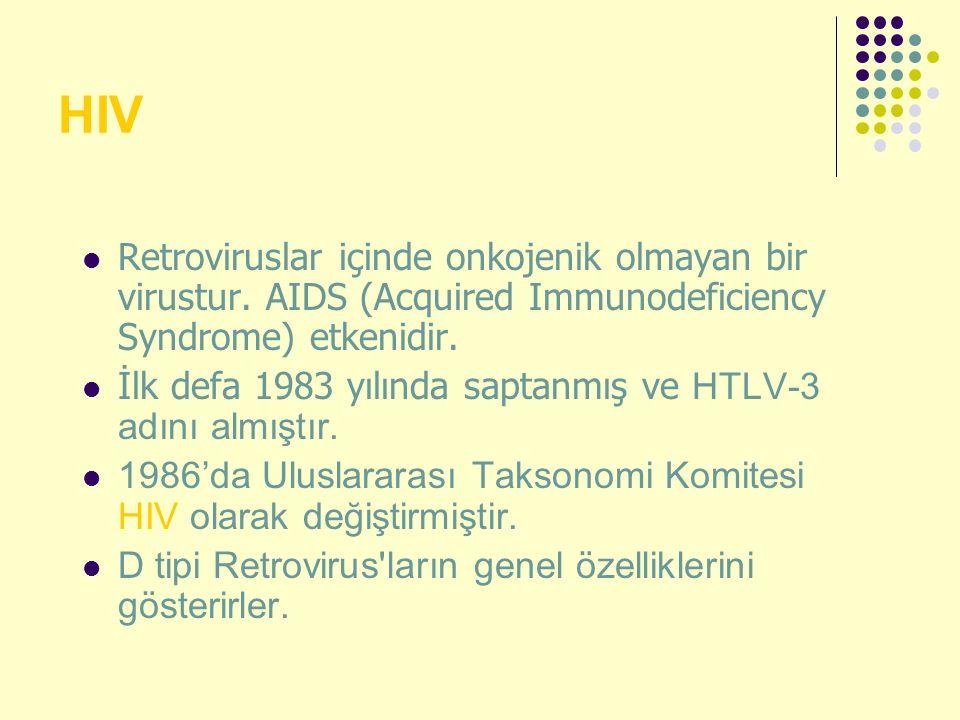 HIV Retroviruslar içinde onkojenik olmayan bir virustur. AIDS (Acquired Immunodeficiency Syndrome) etkenidir. İlk defa 1983 yılında saptanmış ve HTLV-