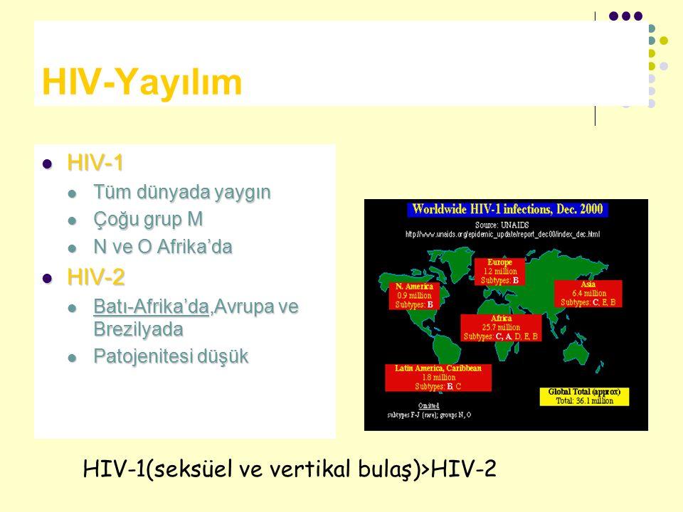 HIV-Yayılım HIV-1 HIV-1 Tüm dünyada yaygın Tüm dünyada yaygın Çoğu grup M Çoğu grup M N ve O Afrika'da N ve O Afrika'da HIV-2 HIV-2 Batı-Afrika'da,Avr