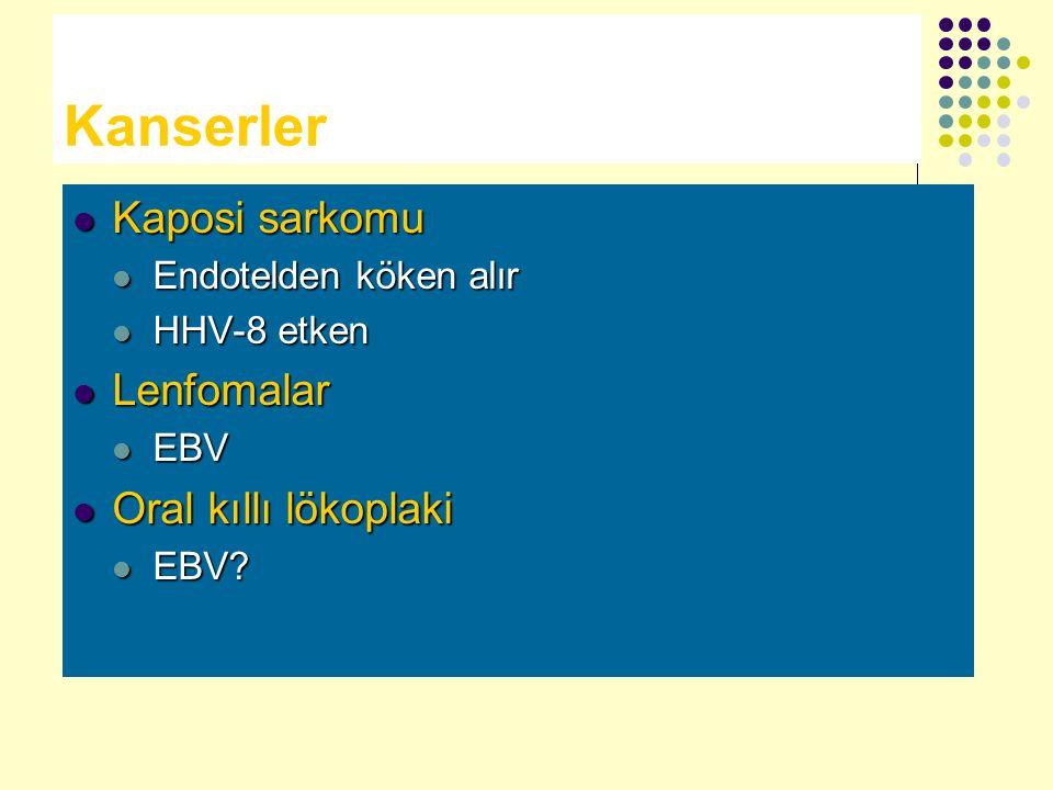 Kanserler Kaposi sarkomu Kaposi sarkomu Endotelden köken alır Endotelden köken alır HHV-8 etken HHV-8 etken Lenfomalar Lenfomalar EBV EBV Oral kıllı l