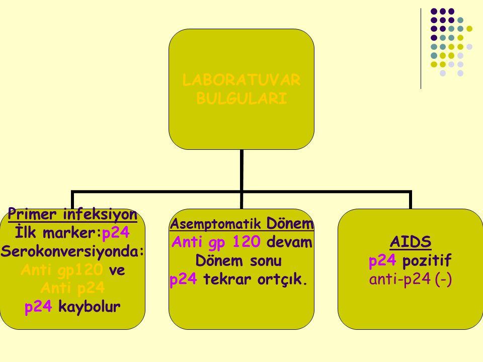 LABORATUVAR BULGULARI Primer infeksiyon İlk marker:p24 Serokonversiyonda: Anti gp120 ve Anti p24 p24 kaybolur Asemptomatik Dönem Anti gp 120 devam Dön