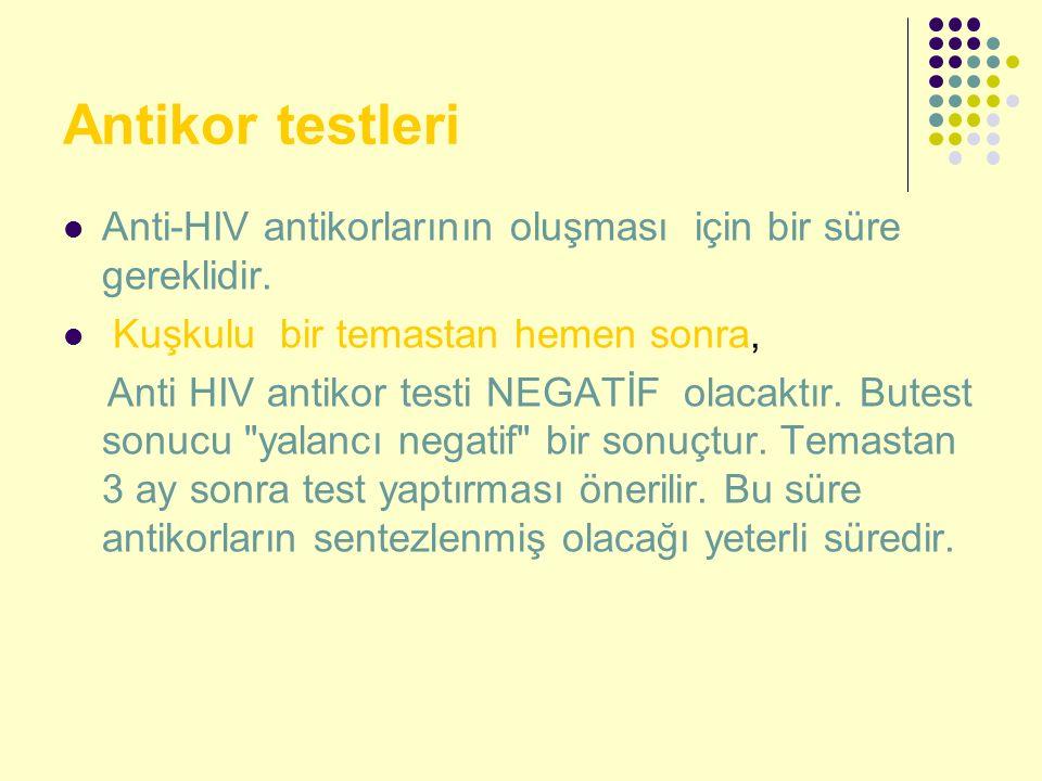 Antikor testleri Anti-HIV antikorlarının oluşması için bir süre gereklidir. Kuşkulu bir temastan hemen sonra, Anti HIV antikor testi NEGATİF olacaktır