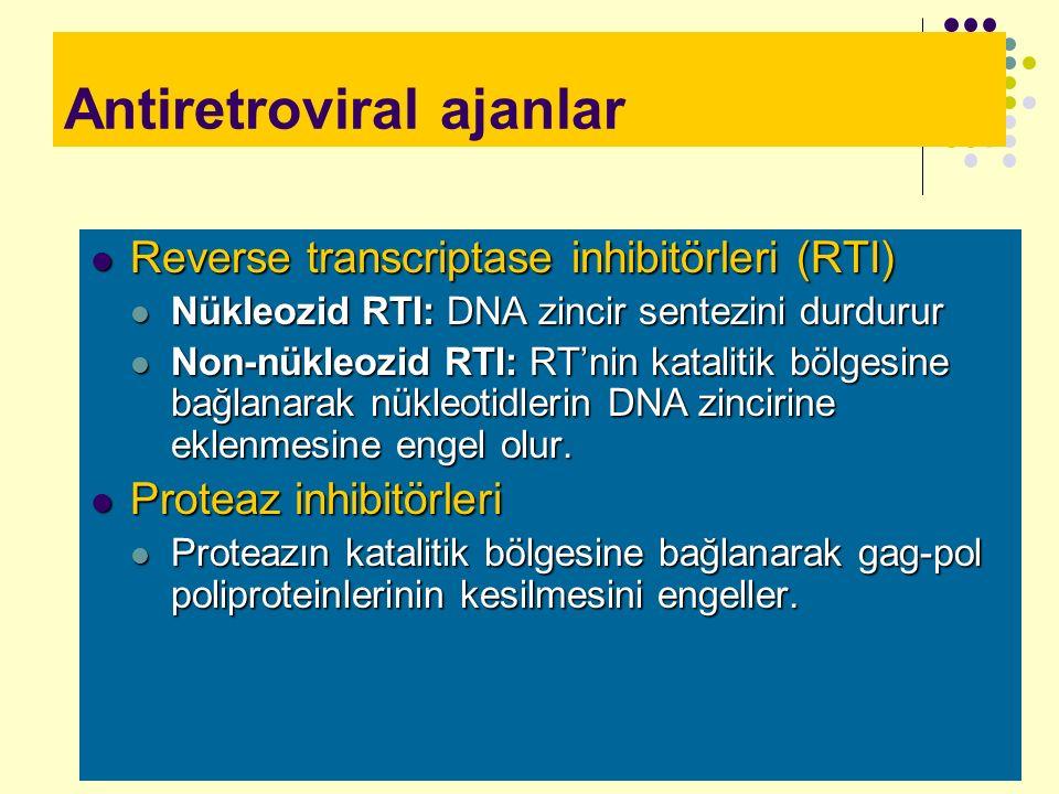 Antiretroviral ajanlar Reverse transcriptase inhibitörleri (RTI) Reverse transcriptase inhibitörleri (RTI) Nükleozid RTI: DNA zincir sentezini durduru