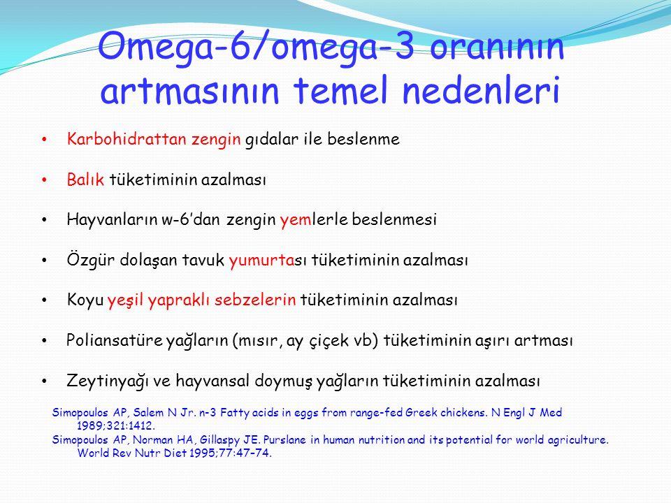 Omega-6/omega-3 oranının artmasının temel nedenleri Karbohidrattan zengin gıdalar ile beslenme Balık tüketiminin azalması Hayvanların w-6'dan zengin y