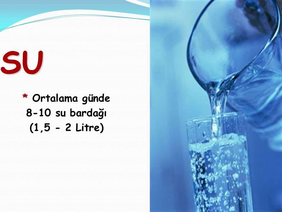41 SU * * Ortalama günde 8-10 su bardağı (1,5 - 2 Litre)