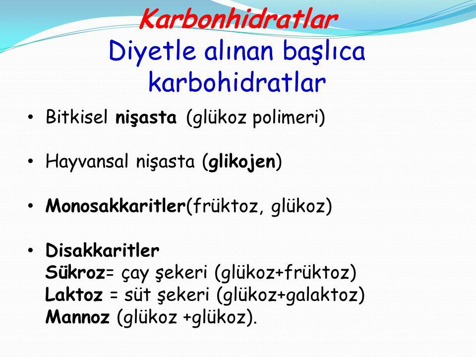 Karbonhidratlar Diyetle alınan başlıca karbohidratlar Bitkisel nişasta (glükoz polimeri) Hayvansal nişasta (glikojen) Monosakkaritler(früktoz, glükoz)