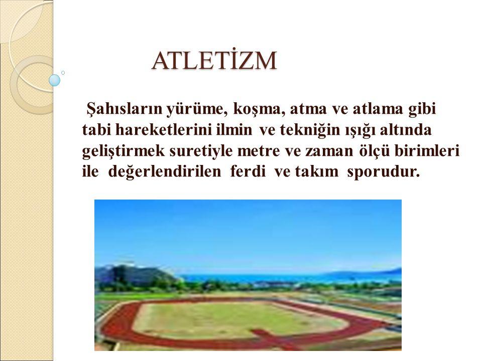 ATLETİZMİN TASNİFİ KOŞULAR ATMALAR ATLAMALAR YÜRÜME 1) 2) Sürat Koşuları 100m(B.E.)kulvarlı 200m(B.E.)kulvarlı 400m(B.E.)kulvarlı Orta Mesafe 800m(B.E.)100m kulv.