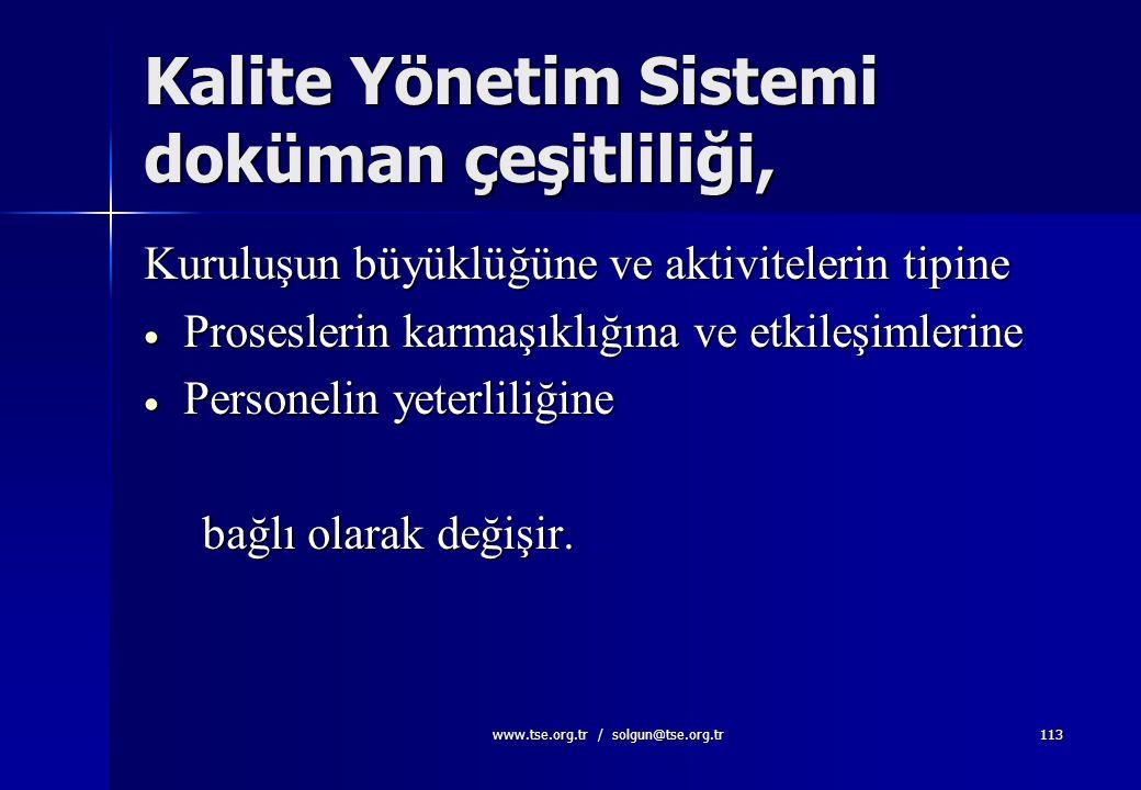 www.tse.org.tr / solgun@tse.org.tr112 Dokümantasyon şartları olarak  Kalite politikası ve hedefleri  Kalite El Kitabı  Standardın istediği dokümant