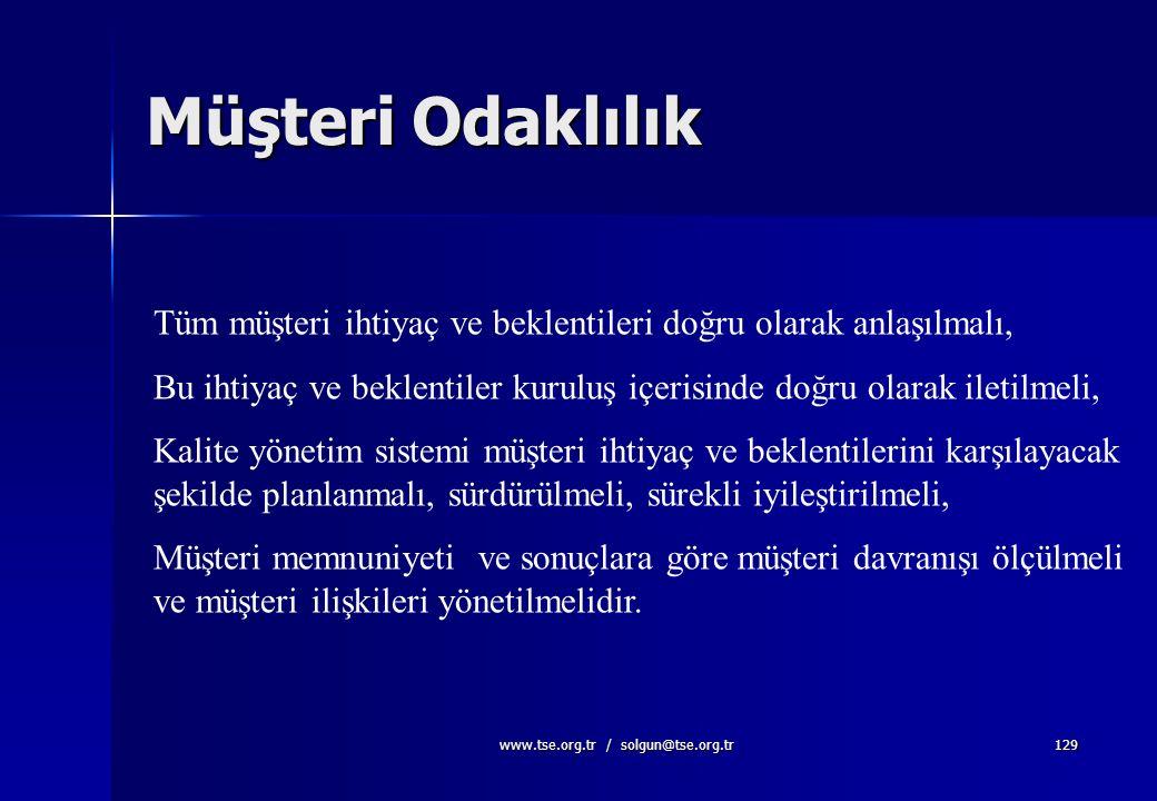 www.tse.org.tr / solgun@tse.org.tr128 Üst yönetim, müşteri memnuniyetinin artırılması amacına yönelik olarak, müşteri şartlarının belirlenmesi ve bunl