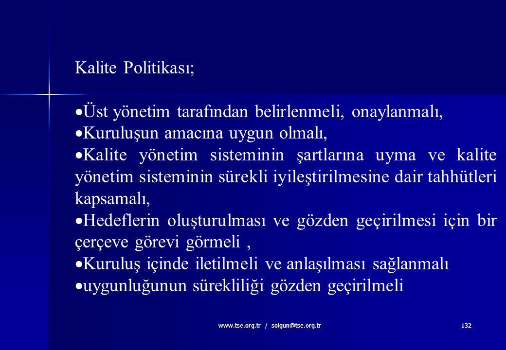 www.tse.org.tr / solgun@tse.org.tr131 Amaç, Politika, Hedef, Strateji...... Amaç (Vizyon+Misyon) Amaç (Vizyon+Misyon) Kalite Politikası HedeflerStrate