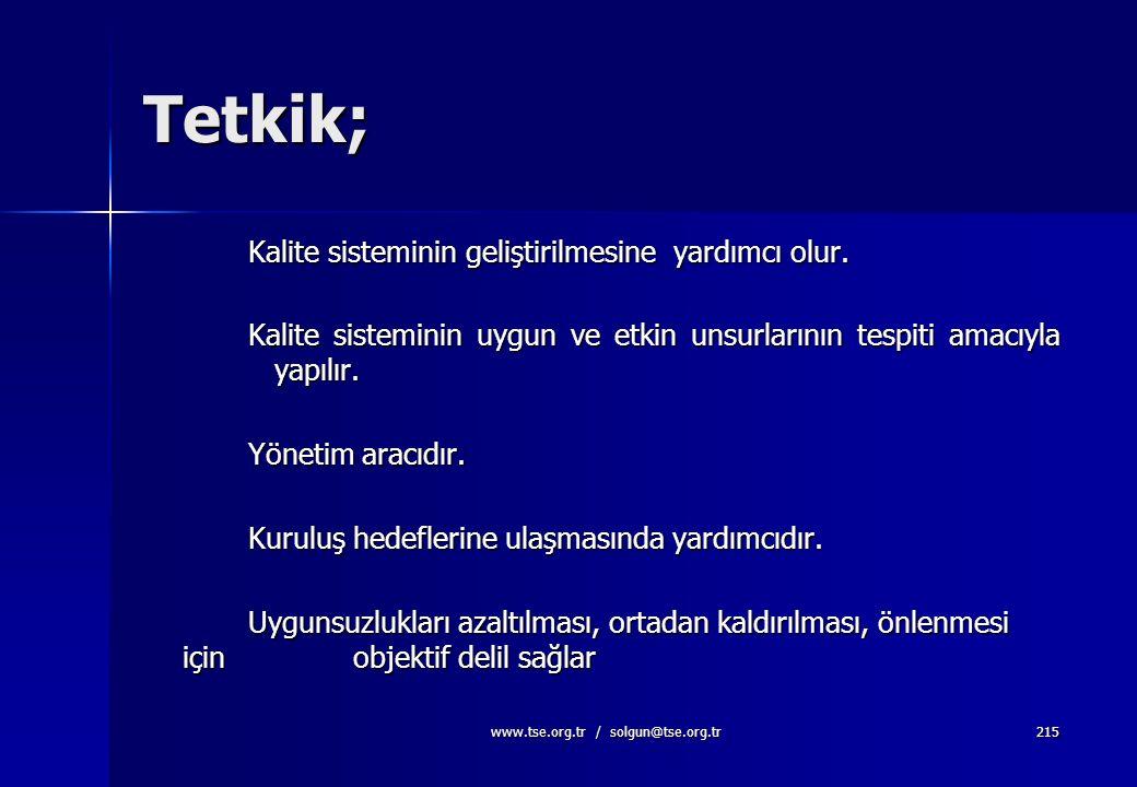 www.tse.org.tr / solgun@tse.org.tr214 Tetkiklerin plânlanması ve yerine getirilmesi, sonuçların rapor edilmesi, kayıtların (Madde 4.2.4) muhafaza edil