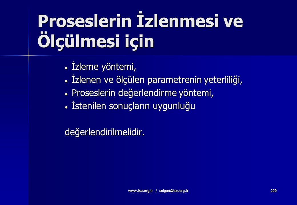 www.tse.org.tr / solgun@tse.org.tr219 8.2.3. Proseslerin İzlenmesi ve Ölçülmesi Kuruluş kalite yönetim sistemi proseslerinin izlenmesi ve uygulanabile