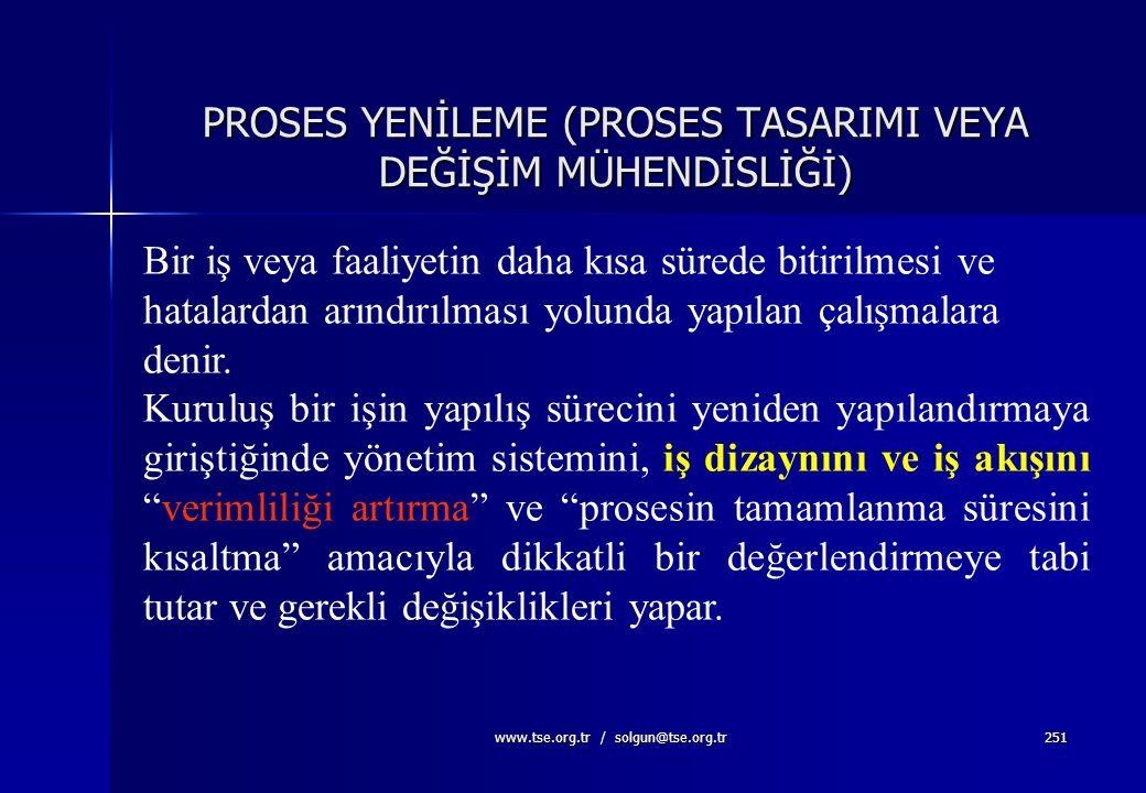 www.tse.org.tr / solgun@tse.org.tr250 Değişiklik Yönetimi  Değişikliklerin değerlendirilmesini  Koordinasyonunu  Onaylanmasını  Reddedilmesini  D