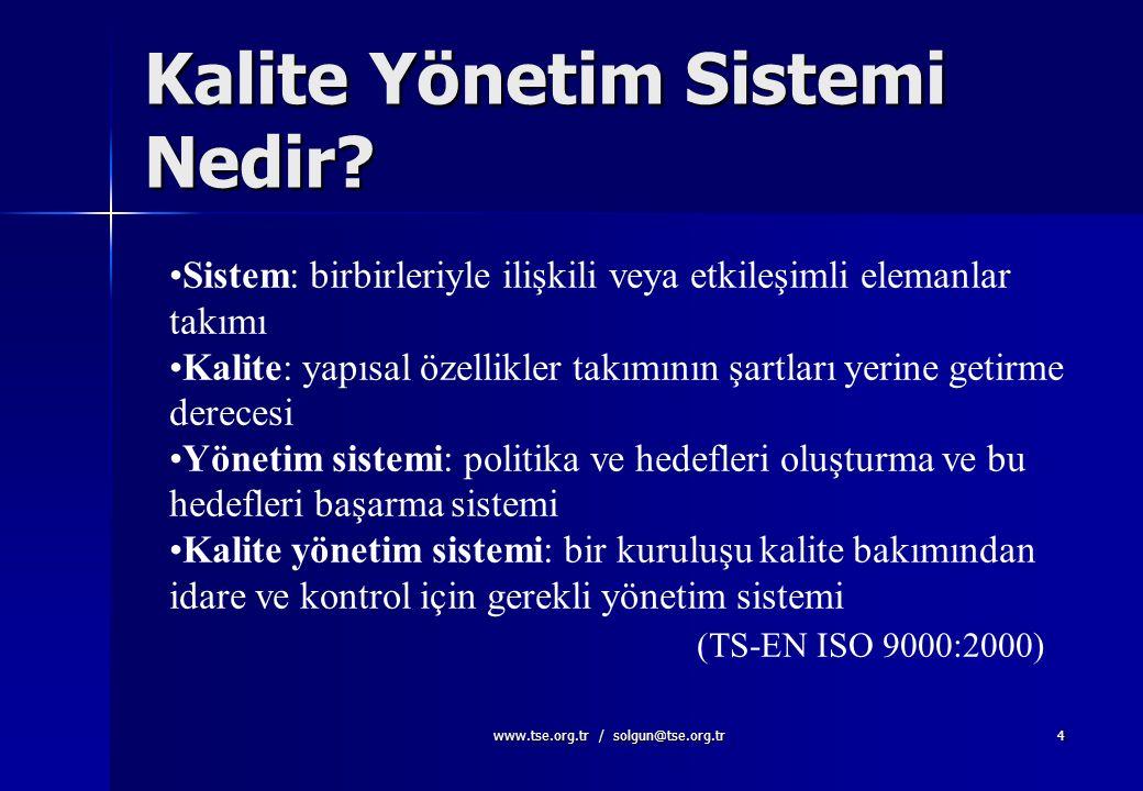 www.tse.org.tr / solgun@tse.org.tr3 KALİTE YAPISAL ÖZELLİKLER TAKIMININ ŞARTLARI YERİNE GETİRME DERECESİ. (TS-EN ISO 9000:2000) YAPISAL ÖZELLİKLER TAK