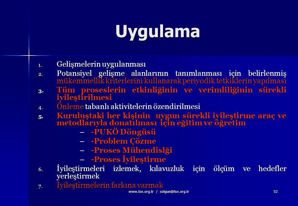 www.tse.org.tr / solgun@tse.org.tr51 6-SÜREKLİ İYİLEŞTİRME Sürekli iyileştirme kuruluşun en kalıcı amacı olmalıdır. Sürekli iyileştirme kuruluşun en k