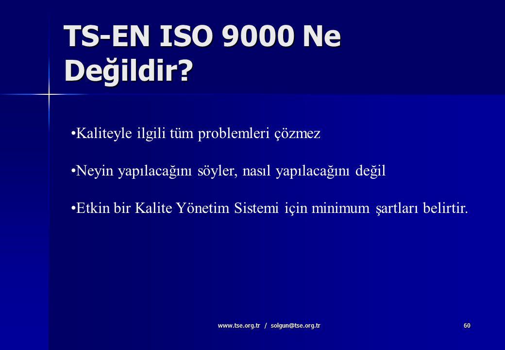 www.tse.org.tr / solgun@tse.org.tr59 Standardın Amacı Nedir? Kalite Yönetimi için genel bir çerçeve sağlar (yönetim sistemi ve yapısı) Kuruluşlar aras