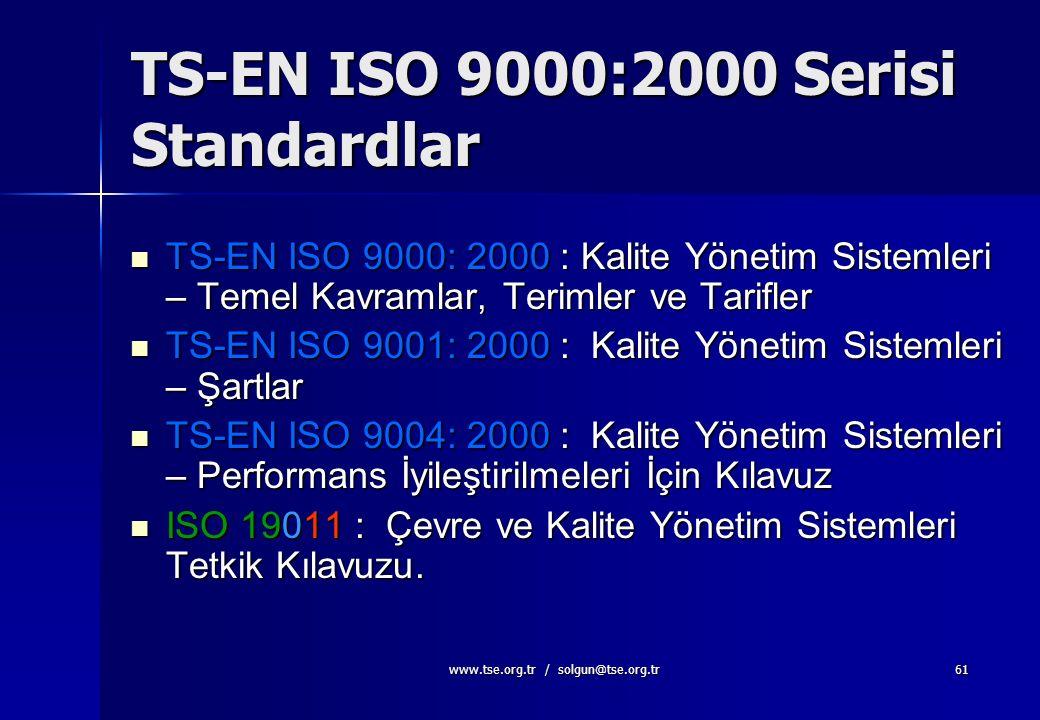 www.tse.org.tr / solgun@tse.org.tr60 TS-EN ISO 9000 Ne Değildir? Kaliteyle ilgili tüm problemleri çözmez Neyin yapılacağını söyler, nasıl yapılacağını