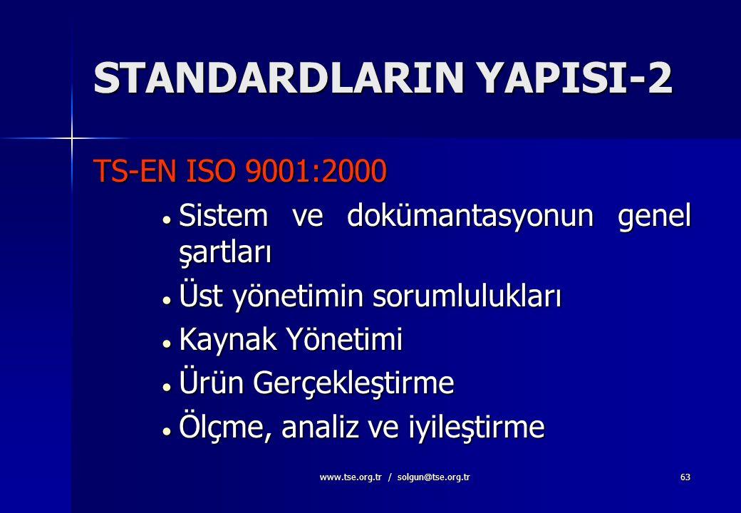 www.tse.org.tr / solgun@tse.org.tr62 STANDARDLARIN YAPISI-1 TS-EN ISO 9000:2000 TS-EN ISO 9000:2000  Temel Kavramlar, Terimler ve Tarifler ( ISO 8402