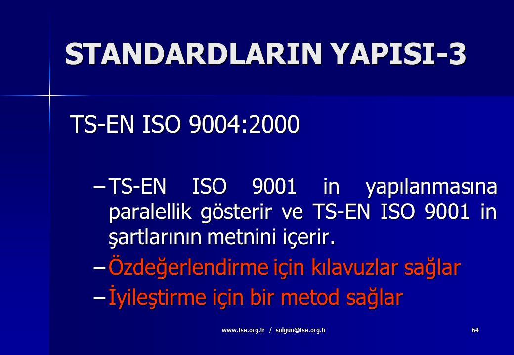 www.tse.org.tr / solgun@tse.org.tr63 STANDARDLARIN YAPISI-2 TS-EN ISO 9001:2000  Sistem ve dokümantasyonun genel şartları  Üst yönetimin sorumlulukl