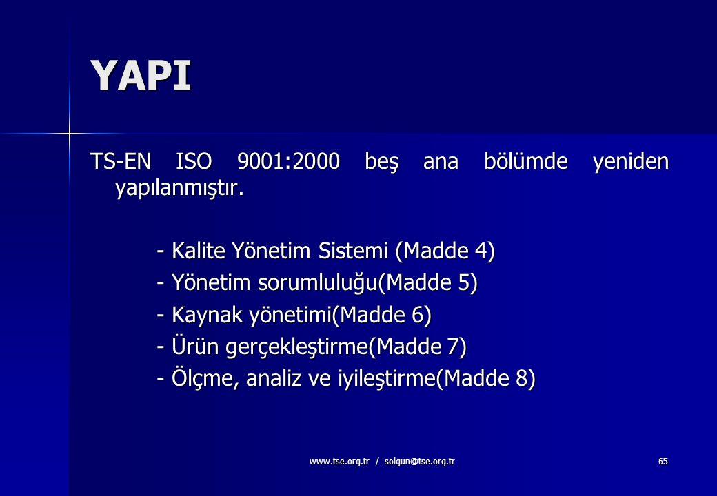 www.tse.org.tr / solgun@tse.org.tr64 STANDARDLARIN YAPISI-3 TS-EN ISO 9004:2000 –TS-EN ISO 9001 in yapılanmasına paralellik gösterir ve TS-EN ISO 9001