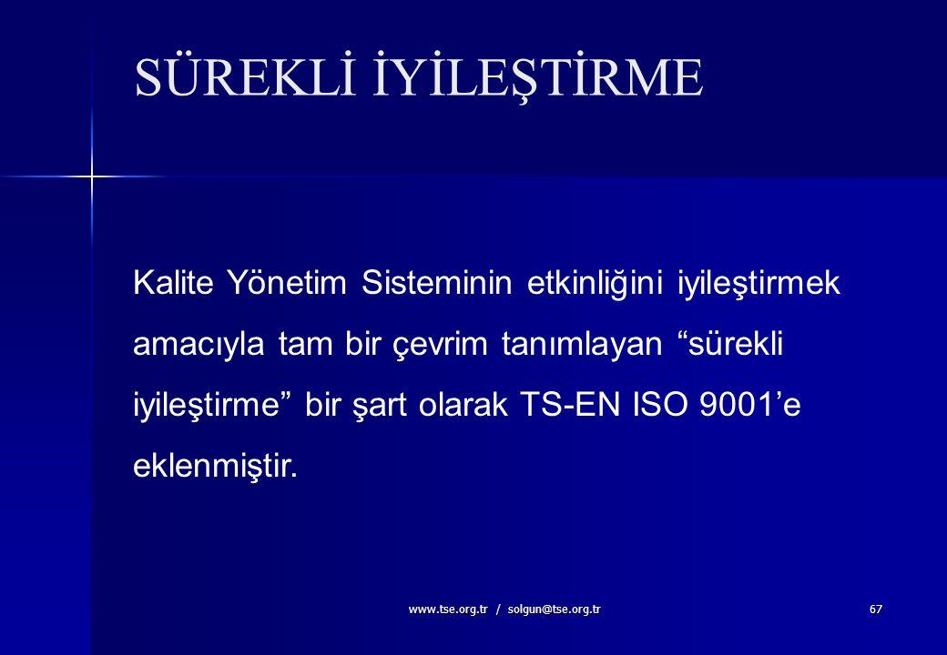www.tse.org.tr / solgun@tse.org.tr66 Rolüne daha fazla ağırlık verilmesi Müşteri odaklı olarak Kalite Yönetim Sisteminin geliştirilmesi ve iyileştiril
