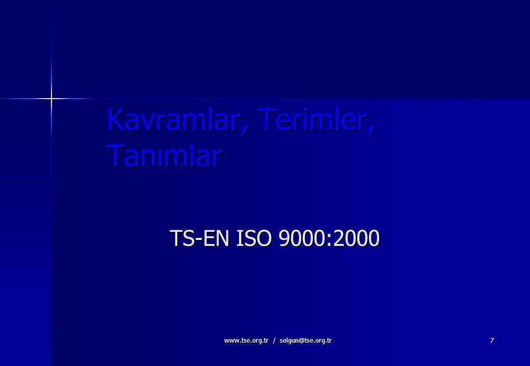 www.tse.org.tr / solgun@tse.org.tr6 KALİTE KAVRAMLARI ARASINDAKİ İLİŞKİ