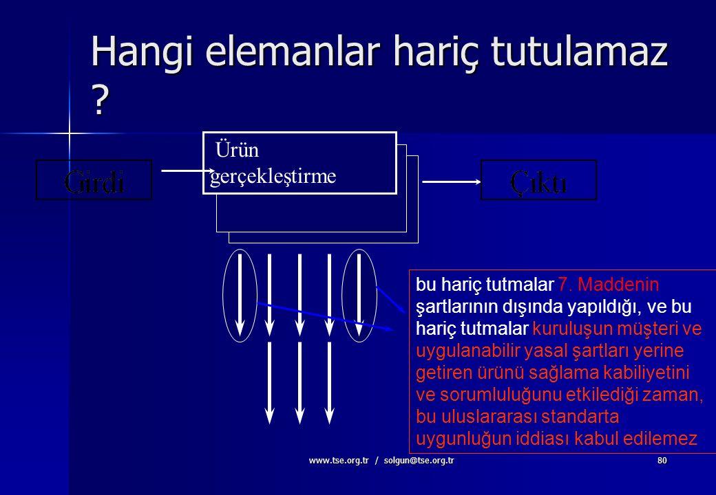 www.tse.org.tr / solgun@tse.org.tr79 Hangi elemanlar hariç tutulabilir? Ürünün gerçekleştirilmesi Geniş kapsam Daraltılmış kapsam TS EN ISO 9001:2000