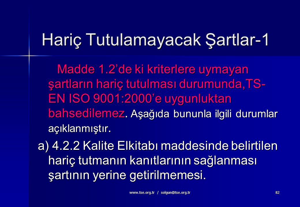 www.tse.org.tr / solgun@tse.org.tr81 Muhtemel Hariç Tutmalar Aşağıda belirtilen maddelerin belirli şartlarda uygulanamaması düşünülebilecek muhtemel ş
