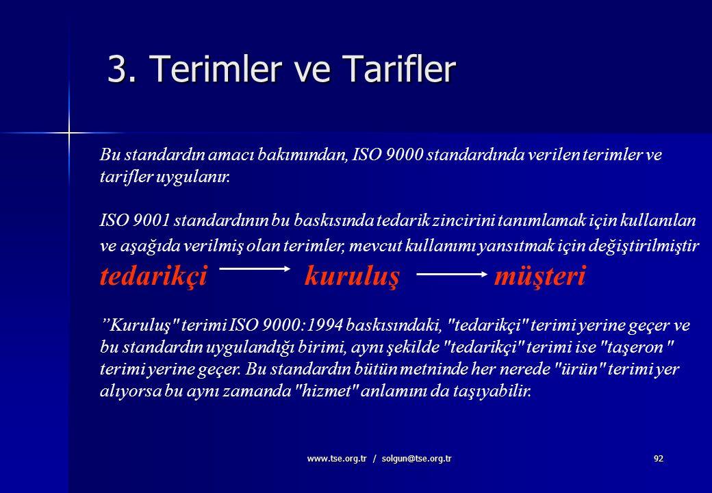 www.tse.org.tr / solgun@tse.org.tr91 Diğer Standardlara Atıflar Tek Atıf: ISO 9000:2000 ISO 9000:2000 içinde ; A) tarihli B) tarihsiz olan atıflar mev