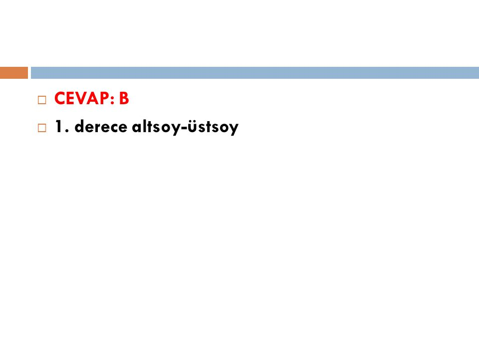  CEVAP: B  1. derece altsoy-üstsoy
