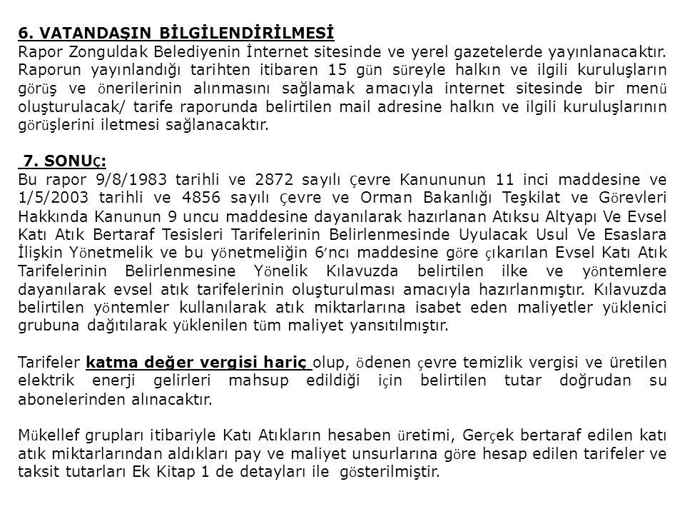 6. VATANDAŞIN BİLGİLENDİRİLMESİ Rapor Zonguldak Belediyenin İnternet sitesinde ve yerel gazetelerde yayınlanacaktır. Raporun yayınlandığı tarihten iti