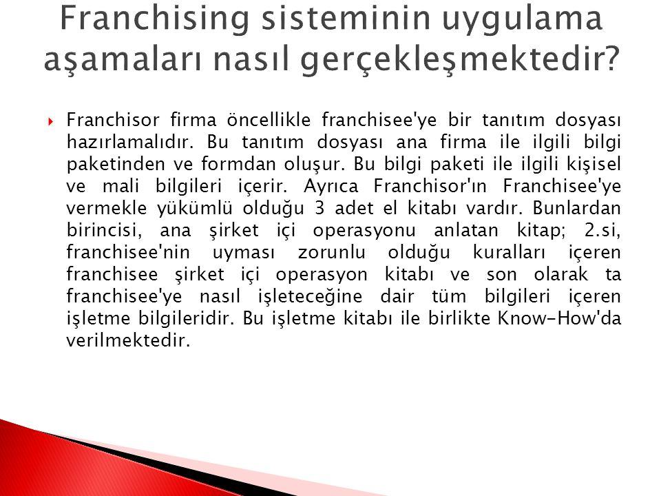  Franchisor firma öncellikle franchisee'ye bir tanıtım dosyası hazırlamalıdır. Bu tanıtım dosyası ana firma ile ilgili bilgi paketinden ve formdan ol