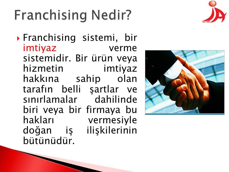  Franchising sistemi, bir imtiyaz verme sistemidir. Bir ürün veya hizmetin imtiyaz hakkına sahip olan tarafın belli şartlar ve sınırlamalar dahilinde
