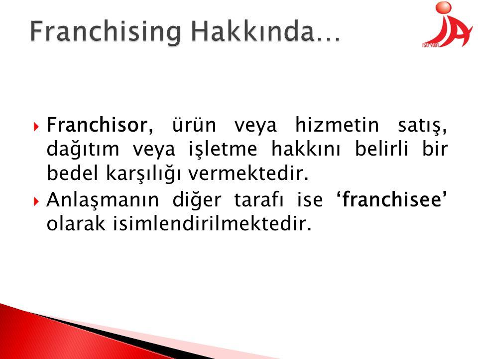  Franchisor, ürün veya hizmetin satış, dağıtım veya işletme hakkını belirli bir bedel karşılığı vermektedir.  Anlaşmanın diğer tarafı ise 'franchise