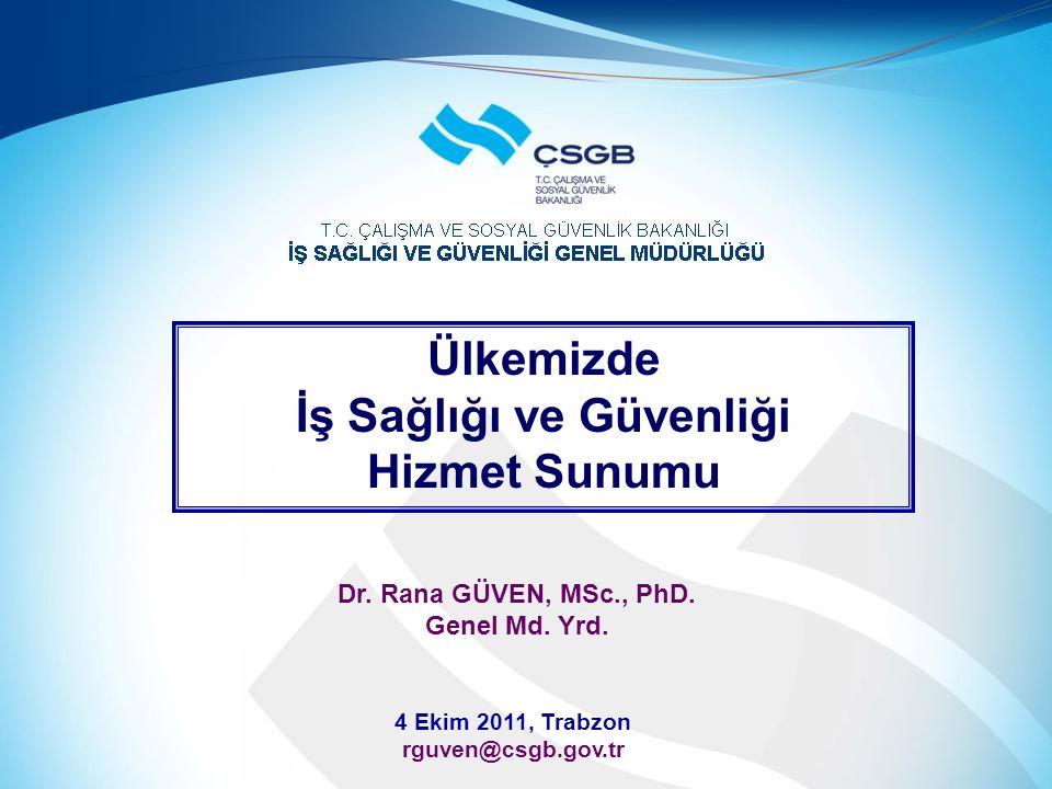 Ülkemizde İş Sağlığı ve Güvenliği Hizmet Sunumu 4 Ekim 2011, Trabzon rguven@csgb.gov.tr Dr. Rana GÜVEN, MSc., PhD. Genel Md. Yrd.