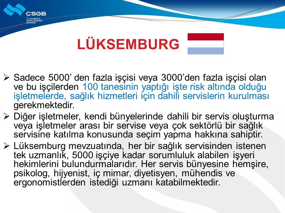 LÜKSEMBURG  Sadece 5000' den fazla işçisi veya 3000'den fazla işçisi olan ve bu işçilerden 100 tanesinin yaptığı işte risk altında olduğu işletmelerd